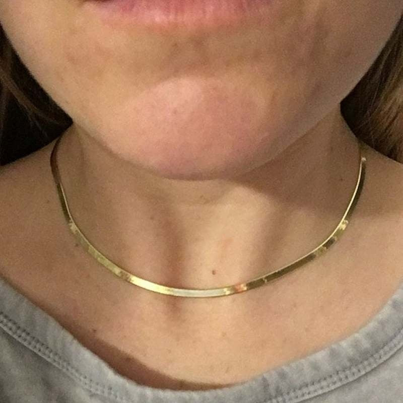 18K Italian gold flat chain / gold choker / High quality Flat snake chain / gold necklace / Sterling Silver chain / gold chain