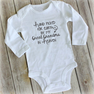 Hand Picked For Earth By My Grandma From Heaven In Heaven Sibling In Heaven Grandparents In Heaven New Baby Hand Picked For Earth Baby Clothes Rompers