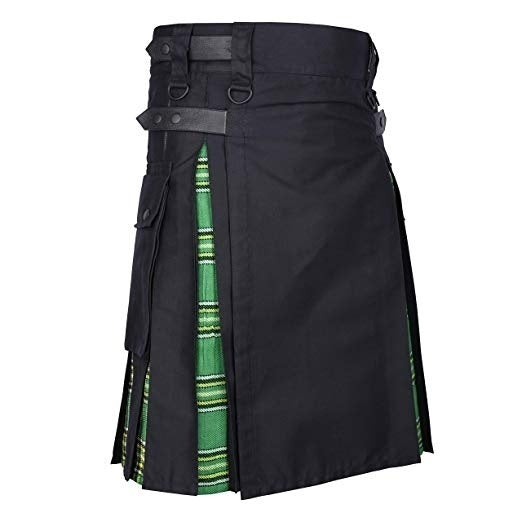 Men's Medieval Style Warrior Kilt Patchwork Pleated Tartan Kilt Pocket Scottish Mens Kilt Traditional Skirt