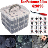 620PCS Plastic Car Body Push Pin Rivet Fastener Trim Moulding Clip + 1PC Screwdriver Tool