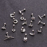 Cz Square Round Butterfly Flower Feather Cartilage Earring 16g Tragus Stud Conch Rook Helix Ear Piercing Jewelry