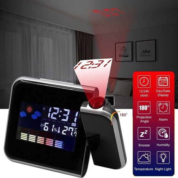 Multifunction Dreamy Colorful Projection Clock Vibe Voice LCD Digital Wheather Alarm Clock Sleep Night Time &Temp Display ( Without Battery)