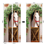 PVC Waterproof Self-adhesive Door Sticker 8 Styles Horse Painting Wall Paper Door Sticker for Living Room Bedroom Bathroom Corridor Wall Decals(77x200cm)