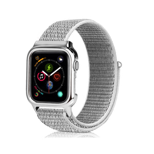 Breathable Nylon Adjustable Sport Loop with PC Protective Cover Frame Replacement Band Compatible with IWatch Apple Watch Series 4, Series 3/2/1 Sport Band Compatible for Apple Watch 38mm 40mm 42mm 44mm