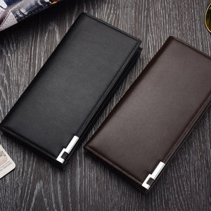 Fashion Men Long Wallet PU Storage Wallet for Money Card Coin Purse Male