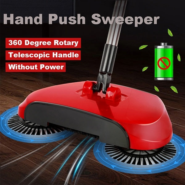 1 Set Hand Push Sweeper Broom Household Floor Spin Cleaning Mop without Electricity for Home Office Garden kitchen