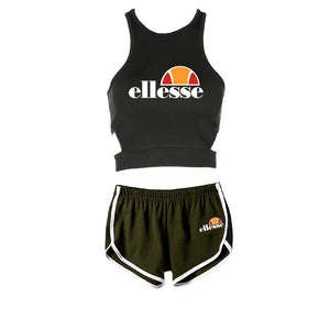 Summer Ellesse Printed Women Clothes Set Vest Sport T-shirt + Short Pants Casual Tops and Yoga Fitness Shorts