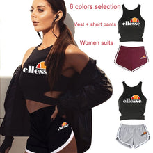 Load image into Gallery viewer, Summer Ellesse Printed Women Clothes Set Vest Sport T-shirt + Short Pants Casual Tops and Yoga Fitness Shorts