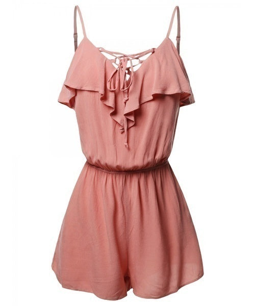 Women's Fashion Casual Spaghetti Strap Ruffle Detail Lace Up Romper