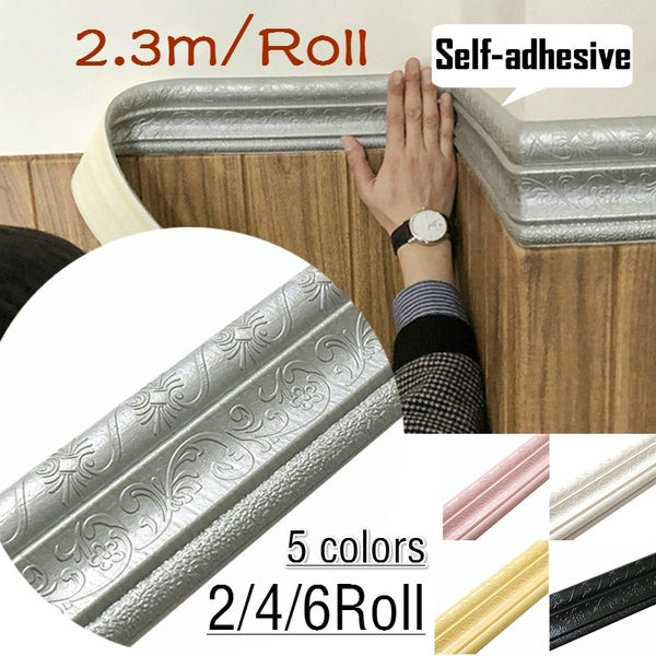2/4/6Roll 3D Waterproof Rustic Tile Living Room Bathroom Baseboard Self Adhesive Vintage Wallpaper Borders 3D Wall Stickers