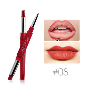 Sexy 2 In 1 Double-ended Lips Makeup Matte Lipstick Set Long Lasting Waterproof Pigment Lipstick Pencils Moisturizer Lips Contour for Women Beauty Cosmetic Kit