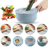 New Vegetable Cutter 9 In 1 Vegetable Chopper with 4 Blades/Egg Separator/Grinder Grater/Food Strainer/Storage Container