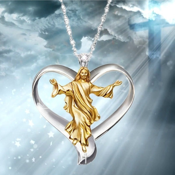 Hot 14KRGP Cross Jesus White and Gold Heart Pendant Female Jewelry Pendant Necklace Silver Chain