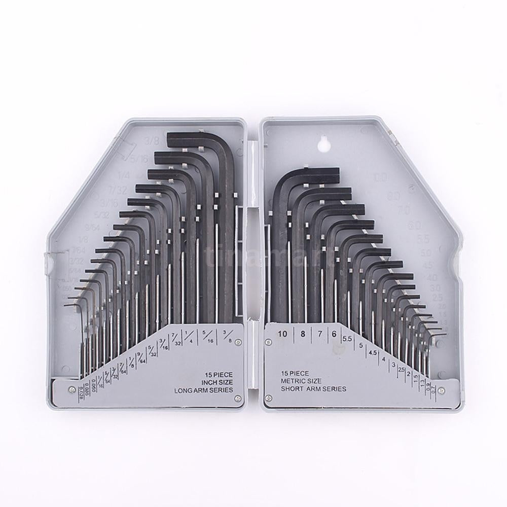 30-piece Industrial Grade Metric Flat Head Hex Wrench Set L-type Wrench 30PC Metric Inch Wrench