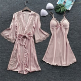 Women Bath Robe Gown Long Nightdress Silk Lace Lingerie Nightgown Sleepwear Nightgown Temptation Belt Underwear Nightdress