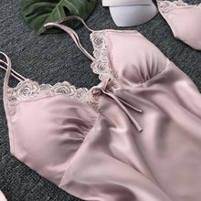 Load image into Gallery viewer, Women Bath Robe Gown Long Nightdress Silk Lace Lingerie Nightgown Sleepwear Nightgown Temptation Belt Underwear Nightdress