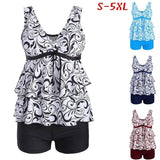 Summer New Women's Fashion Delicate Floral Print Chiffon Ruffled Tank Top and Elastic Waist Swimming Trunks Two-Piece Swimwear Plus Size S-5XL