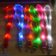 Load image into Gallery viewer, 7 Colors LED Flashing Belt Certificate Rope ID Card Key Lanyard Shine Neck Strap