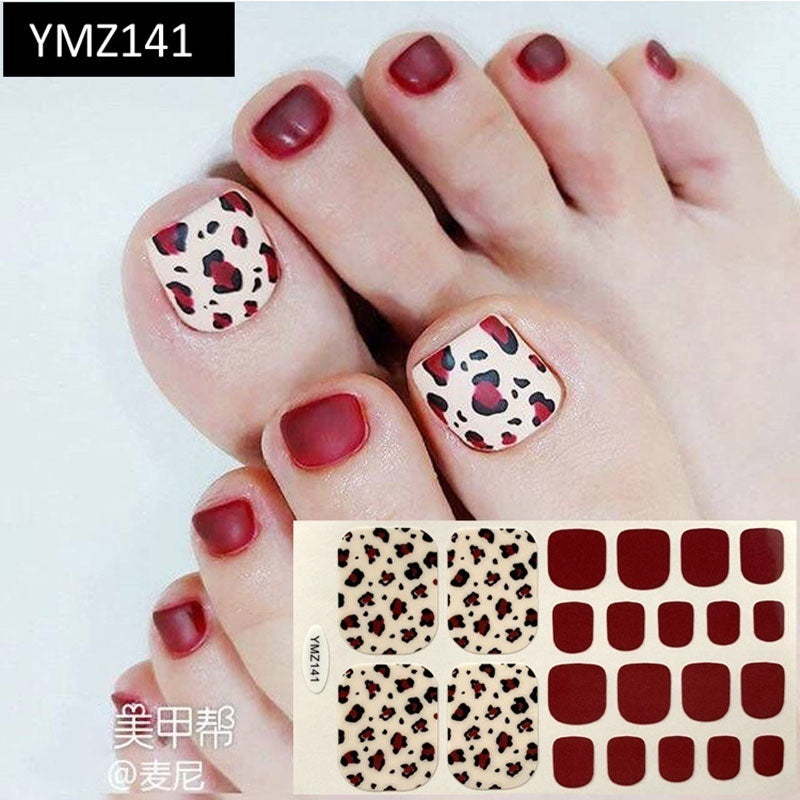1PC(including 22 Small Stickers)  DIY Colorful Series Toenail Manicure Stickers Waterproof Non-toxic Nail Patch Nail Decal Sticker Environmental Nail Wraps