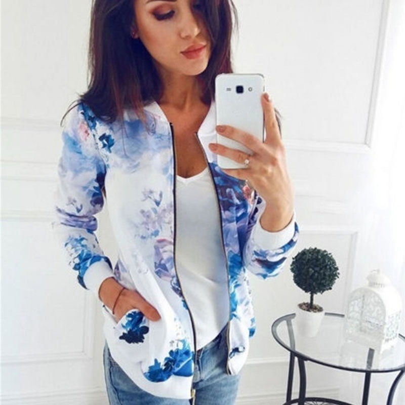 Plus Size S-4XL Autumn/Spring Fashion Women Floral Leaf Printed Outwear Casual Zipper