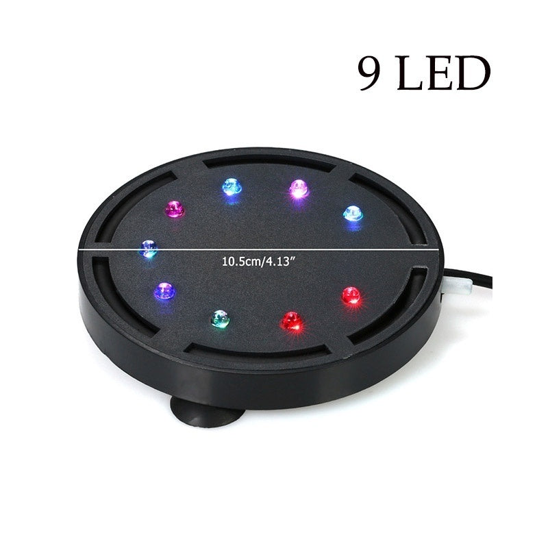 Aquarium Underwater LED Light Air Bubble Stone Round Multi Color Waterproof LED Light for Fish Tank