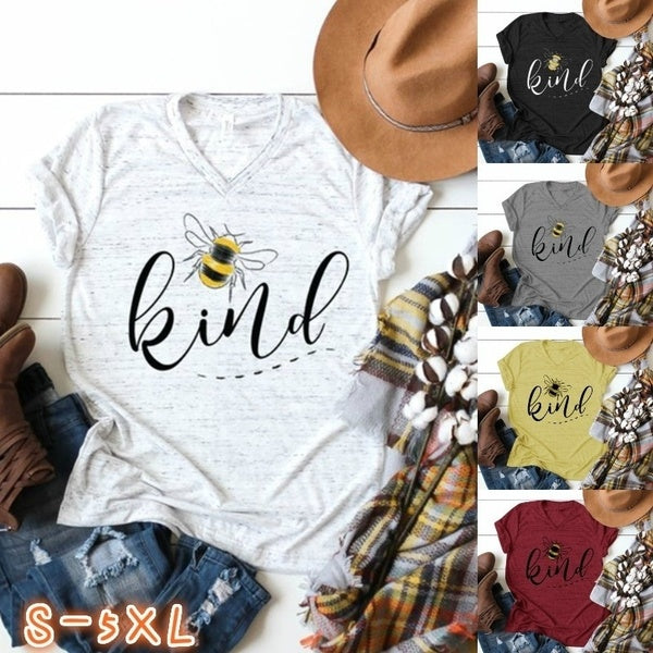 Plus Size S-5XL Womne's Fashion Funny Bee Kind Tee Summer Casual V Neck Short Sleeve T Shirt Tops Women's Clothes