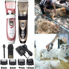 Load image into Gallery viewer, Portable Gold/Pink Mute Rechargeable Pet Hair Clipper with 6pcs Accessories, Hair Grooming Kit for Pets Dogs Cats