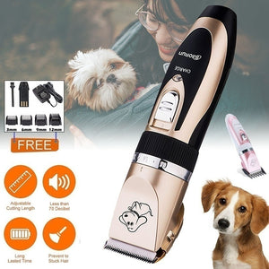 Portable Gold/Pink Mute Rechargeable Pet Hair Clipper with 6pcs Accessories, Hair Grooming Kit for Pets Dogs Cats