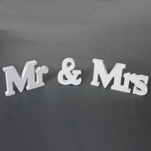 Wedding Decorations Marriage Decor Mr & Mrs Birthday Party Decorations White Letters Wedding Sign
