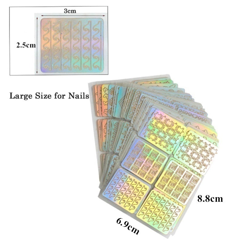 12 Sheets/24 Sheets Nail Art Vinyl Stencil Guide Sticker Manicure Curved Wave Laser Tip DIY Stamping Template Nails Tools