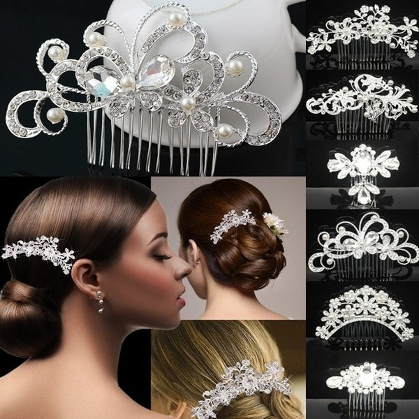 New Women's Crystal Hair Clips Bridal Wedding Rhinestone Diamante Pearl Hair Clip Comb