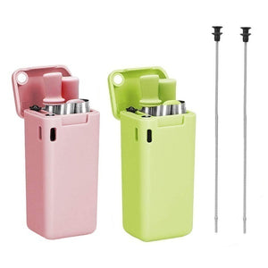 1PCS Collapsible Reusable Drinking Straws Stainless Steel Food-Grade Folding Drinking Straws Keychain Portable Set with Case Holder & Cleaning Brush