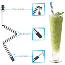 Load image into Gallery viewer, 1PCS Collapsible Reusable Drinking Straws Stainless Steel Food-Grade Folding Drinking Straws Keychain Portable Set with Case Holder & Cleaning Brush