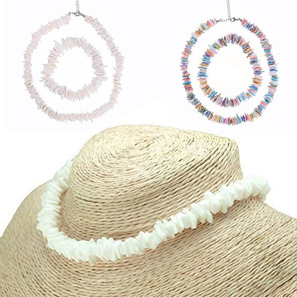 2PC(Bracelet+Necklace)Cowrie Puka Shell Choker Necklace for Women Seashell Statement Adjustable Chain