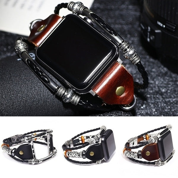 Stylish Leather Smart Watch Bracelet for Iwatch 38MM 42MM Series 1/2/3/4 Stainless Steel Alloy Replacement Smart IWatch Strap