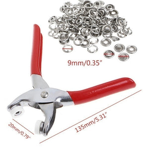 Fastener Snap Pliers Buttons Press Fixing Tool + 100Pcs Ring Snap Clothes Crafting Tool