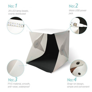 Portable Folding Lightbox Photography LED Light Room Photo Studio Light Tent Soft Box Backdrops for Digital DSLR Camera Photo Studio