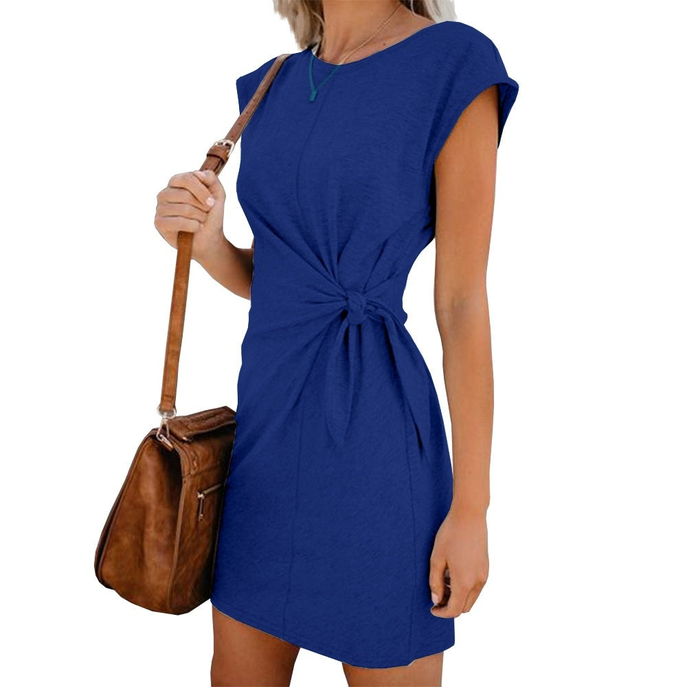 Fashion Summer Women Loose Round Neck Dress Short Sleeve Solid Color Casual Dress