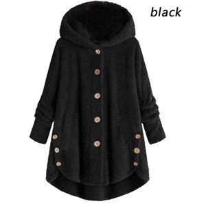 2019 Winter Women's Fashion Warm Jacket Autumn Winter Casual Decoration Fleece Hooded Coat Loose Fit Soft Furry Coats Hoody Tops Plus Size S-5XL