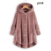 Load image into Gallery viewer, 2019 Winter Women's Fashion Warm Jacket Autumn Winter Casual Decoration Fleece Hooded Coat Loose Fit Soft Furry Coats Hoody Tops Plus Size S-5XL