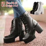 Plus Size 34-43 New Autumn Winter Leather Martin Boots Botas Mujer Bottes Femmes Women Thick High Heel Ankle Boots Fashion Buckle Platform Boots Stiefel Stivali Da Donna