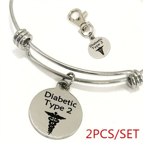 Diabetic Type 2 Medical Charm Bracelet, Diabetic Type 2 Awareness, Diabetic Jewelry, Medical Notification, Medical Awareness, Caduceus