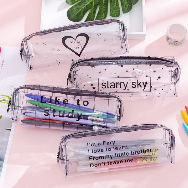 1Pcs Creative Simple Transparent Letter Pencil Case Kawaii Love Stars Large Capacity Waterproof Pencil Bag Stationery Pouch School Supply