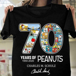 Details About 70 Years Of Peanuts 1950-2020 Charles M Schulz Black Cotton Men Clothing Shorts
