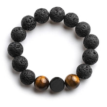 Load image into Gallery viewer, FFWFF 12mm handmade natural Volcanic Stone beads chakra Lava gold magnetic bracelet men mens bracelets 2019 Tigereye