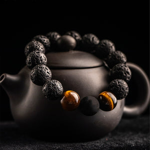 FFWFF 12mm handmade natural Volcanic Stone beads chakra Lava gold magnetic bracelet men mens bracelets 2019 Tigereye