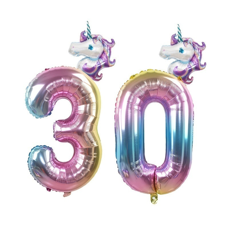 2pcs/set Rainbow Unicorn Balloon 32 Inch Foil Number Balloon for Baby Kids Birthday Decoration Digital Baloon Kids Party Toys