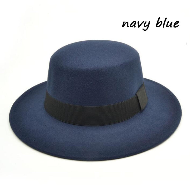 Country Musician Women and Men's Vintage Wool Flat Top Hats Wide Brim Hat Wedding Party Hat Casual Gambler Hat