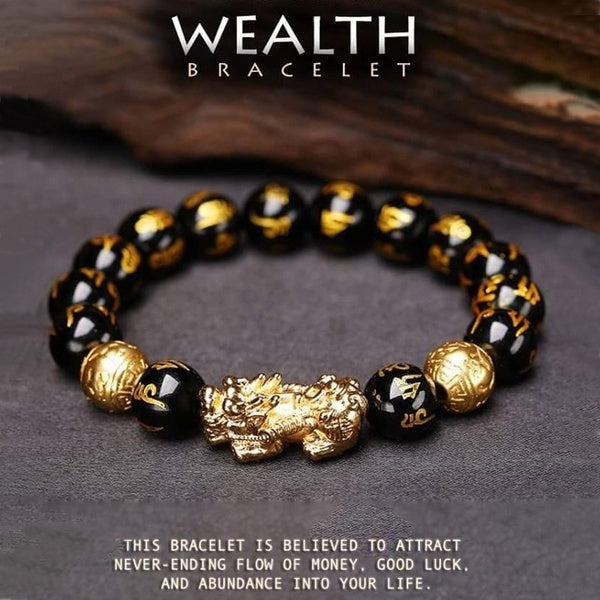 Black Obsidian Wealth Bracelet-The best gift for parents