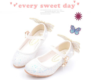 Girls Princess Leather Shoes Children's High Heels Crystal Shoes Catwalk Show Single Shoes